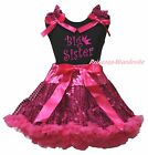 Big Sister Black Cotton Top Hot Pink Bling Sequins Skirt Clothing Outfit 1-8Year