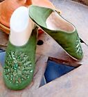 MOROCCAN * OLIVE GREEN  LEATHER SEQUINED SLIPPERS