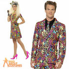 1980s Mens Neon Stand Out Suit Ladies Dress Leopard Tiger Fancy Dress Outfit