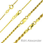 14K Gold over 925 Sterling Silver Diamond Cut Rope Chain Necklace All Sizes image