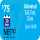 NET10 Wireless $75 Unlimited Monthly Plan Talk, Text, 10GB Data,Same Day Refill!