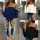 Summer Women Long Sleeve Off Shoulder T-Shirt Tops Loose Chiffon Blouse Clothes