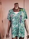 new womens s/s printed 2fer blouse top