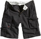 MENS SURPLUS VINTAGE ARMY TROOPER MILITARY COMBAT CARGO SHORTS BLACK SMALL
