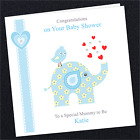 Personalised Baby Shower Card AN05 New Mum Mummy To Be Party Blue Boy Elephant