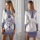 Long Sleeve Printed White O-neck Casual Dress For Women AP0681