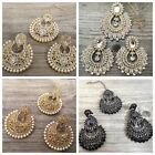UK Ethnic Indian Earrings Tikka Set Head Piece Antique Gold Jewellery Bridal
