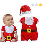 Newborn Baby boy girls Xmas Santa Romper Bodysuit Hat Outfits Clothes Christmas