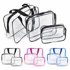 Set of 3Pcs Cosmetic Makeup Toiletry Clear PVC Travel Wash Bags Holder Pouch Kit
