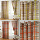 Pair of Check Tartan Checkered Ring Top Eyelet Cotton Blend Lined Curtains