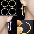 #E121B CLIP ON Polished 3.5cm HOOP EARRINGS Spring Closure look like pierced NEW