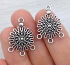Connector Charms for Earrings 4pc Silver Tone Tribal Maya Patterned Flower CH275