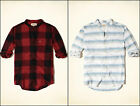 HOLLISTER MEN`S BANDED COLLAR PLAID FLANNEL SHIRT NEW SIZE S,XL
