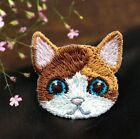 Embroidered Cloth Patch Iron On Patch Sew Motif Applique Cat Head Patch DIY