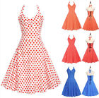 UK Vintage Womens Lace Up Spotted Swing Halterneck Ladies Casual Paty Dress 6-18