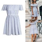 Women Summer Cotton Striped Off Shoulder Party Dress Casual Mini Dresses Skirt