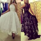 Sexy High Low Black/White Lace Ball Gown Formal Evening Party Dress Prom Dresses