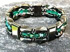 Men's Woman's Black Magnetic Hematite Bracelet Anklet 3 row w EMERALD Swarovski