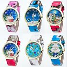 Fashion Leather Stainless Steel Analog Quartz Wrist Watch Christmas Gift 1Pcs