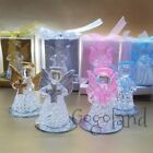 12 Crystal Angel Favors Mi Bautizo Gold Pink Blue Boy Girls