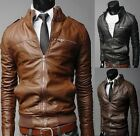 Brando Men's Motorcycle Style Biker PU Leather Hoodie Jacket Fahion Coats New