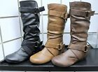 NEW WOMEN FOREVER STYLISH SLOUCH CASUAL FASHION BOOT W/2 BUCKLE STRAP ACCENT