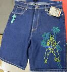 NEW MEN'S SCARFACE BLUE TONY MONTANA MULTI COLOR EMBROIDERY DENIM JEAN SHORTS
