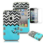 Hybrid Shockproof Rubber Matte Hard Case Cover For Apple iPhone 4 4S BLUE ANCHOR