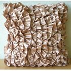 "Pink Vinage Style Ruffles 12""x12"" Satin Pillows Cover - Vintage Peach"