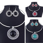 Women Sets Jewelry Sets For Turqoise Vintage Round Hot Necklace Earrings