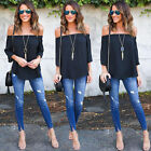 Womens Off Shoulder Tops Summer Casual Long Sleeve Loose T Shirt Blouse New US