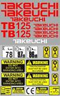 Decal Sticker set. TAKEUCHI TB020 & TB125 Mini Digger Pelle Bagger Excavator