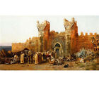 Oil Painting Edwin Lord Weeks Gate of Shehal Morocco Arabs Camels Canvas Framed
