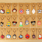 Silicone Cute Cartoon Key Cover Top Head Cover Chain Cap Keyring/Phone Keychain