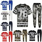 Boys Top Kids Designer Brooklyn 76 Camouflage T Shirt Tops & Trouser Set 5-13 Yr