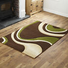 NEW BIG LARGE SMALL MODERN BROWN GREEN RUG WAVE CURL BEST QUALITY RUNNER RUG MAT