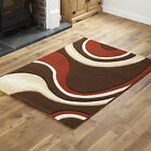 QUALITY BROWN TERRA X LARGE SMALL RUNNER RUG MODERN WAVE CURL RUG MAT CHEAP COST