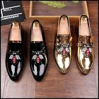 Stylish Mens Shiny Leather Bee Embroidery Loafers Slip On Dress Casual Shoes SZ