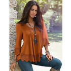 US Fashion Women Lace 3/4 Sleeve V Neck T-Shirt Casual Loose Tops Blouse Shirts