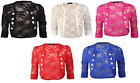 Womens Ruched 3/4 Sleeve Military Style Shrug Ladies Floral Lace Bolero Top 8-14