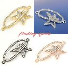 1pc Metal Curved Side Ways Crystal Oval Star Orbit Bracelet Connector Beads DIY