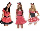 Ladies Minnie Mouse Spots Dot Costume Mickey Fancy Dress Outfit Party