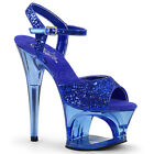 Pleaser MOON-710GT Women's Blue Glitter High Heel Cut-Out Platform Ankle Strap