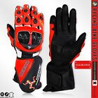 Motorbike Leather Gloves CE Marked ISLE of MAN Sports Gloves Carbon Knuckle -RED
