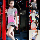 Shop Sport Women Fast Dry Jog Yoga T Shirt Workout Gradiente Color Gym Clothes