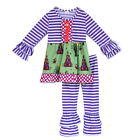 Girls Halloween Outfit Sizes 18M 2T 3T 4T 5 6 Purple Striped Haunted Houses Cats