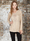 Monoreno Taupe Hippie Boho Long Sleeve Faux Suede Tunic Macrame Detail Faux S...