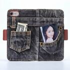 For iPhone 6 7 plus True Jeans Style Blue Black Phone Denim Covers Cases