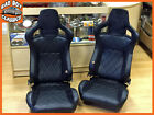 Pair BB6 Faux Leather Reclining Bucket Sports Seats Fits LANDROVER DEFENDER
