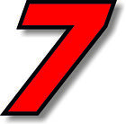 Red 5 inch race numbers with black border number vinyl sticker graphic decal